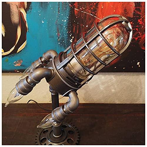 ZHMIAO Lámpara de Escritorio de Cohete Steampunk, Luces de Bombillas LED Creativas Retro con Llama de bulbos de simulación, lámpara de Mesa de decoración del hogar para Sal