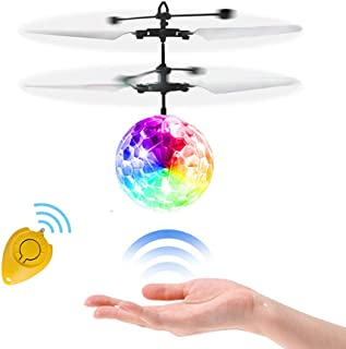 Wekity RC Flying Ball Toys, Hand Spinner Drone Helicopter Ball Built-in Shinning LED Flashing Light Aircraft Helicopter Induction Toy for Kids Teenagers Gifts for Indoor Outdoor Games (RC Flying Toy)
