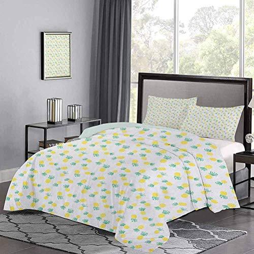 Tagesdecken Tagesdecke Doodle-Stil Kiefer Hand gezeichnete exotische Früchte Muster Streifen & Punkte Teen Bettbezug Weiche Leichte Komfortable Gelb & Meergrün
