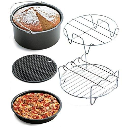 Gaddrt Accesorios para sartén de Aire, 5 Unidades, Cesta para freír y Hornear, Parrilla para Pizza