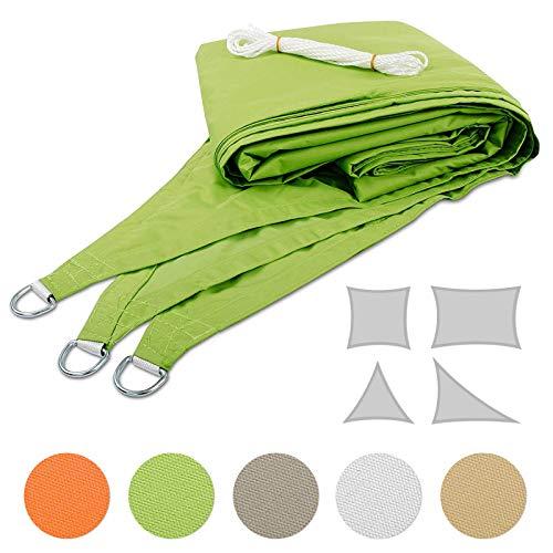 Mammut Sonnensegel für Garten, Balkon und Terrasse | Dicke Premium Qualität | wetterbeständig und atmungsaktiv | große Auswahl an Formen, Größen und Farben | Dreieck Grün 3,6x3,6x5,1 m