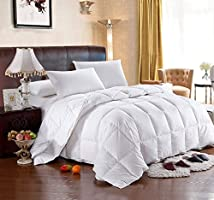 Hotel Comforter 6 Pcs Set By Valentini, King Size, Stripe Squares D1, White, Microfiber