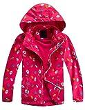 Echinodon Chaqueta para niña con forro polar, impermeable, resistente al viento, reflectores, chaqueta de entretiempo, chaqueta de trekking rojo 146/152 cm