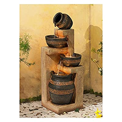 """John Timberland Rustic Stoneware Bowl and Jar Outdoor Floor Water Fountain with Light LED 46"""" High Cascading for Yard Garden Patio Deck Home"""