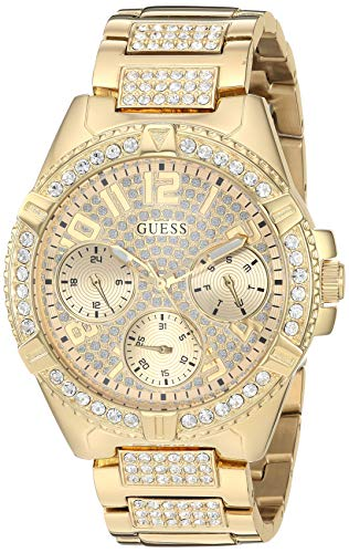 GUESS  Gold-Tone Stainless Steel Crystal Watch with Day, Date + 24 Hour Military/Int'l Time. Color: Gold-Tone (Model: U1156L2)