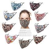 Reusable Face Masks Washable Cloth Comfortable Breathable Face Mask with Filter for Women (9Pack) 3 Layers Fabric Cotton Adjustable Ear Loops Fashion Face Masks with Nose Wire for Adult Men 3d