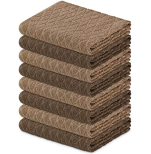 DecorRack 8 Kitchen Towels, 100% Cotton, 16 x 27 inches, Soft and Absorbent Dish Drying Cloth, Kitchen Hand and Tea Towel, Jacquard Design in Cappuccino Coffee (Set of 8)