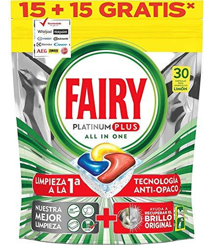 Fairy Platinum PLUS - Spülmaschinentabs All-In-One 30 Kapseln Zitrone, Lemon Geschirrspültabs, Geschirrspülmittel Tabs