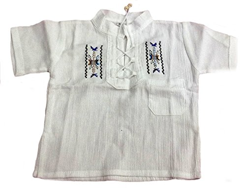 Alpacaandmore Baby Unisex Sommer Shirt Trachtenhemd Trachtenbluse Bestickt 100% Pima Baumwolle ökologische Baumwolle Biobaumwolle 0-2 Jahre (74, blau Bestickt)