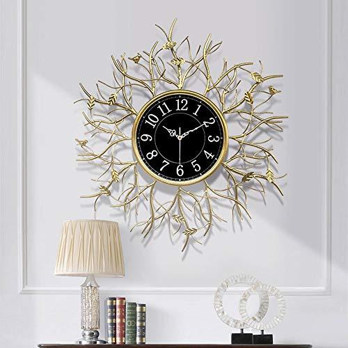 N\C Xikuo Reloj De Pared - Golden Ramita Diseño del Reloj De Silencio Creativo Luxury Light, La Hoja De Oro del Arte/Material Metálico, Sala De Estar Oficina Dormitorio, Diámetro De 29,5 Pulgadas
