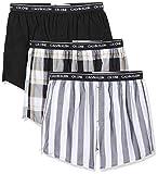 Calvin Klein Slim Fit Boxer 3pk, Negro (Level Stripe/Black/Field Plaid Les), Small para Hombre