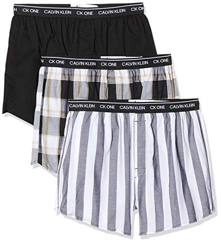 Calvin Klein Slim Fit Boxer 3pk, Negro (Level Stripe/Black/Field Plaid Les), Large para Hombre