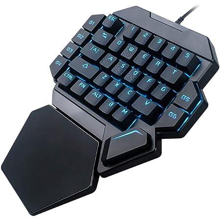 Tangxi Teclado de Juegos de una Mano, Teclado mecánico portátil de 35 Teclas RGB Blacklight con función de definición de Macro Compatible con ...