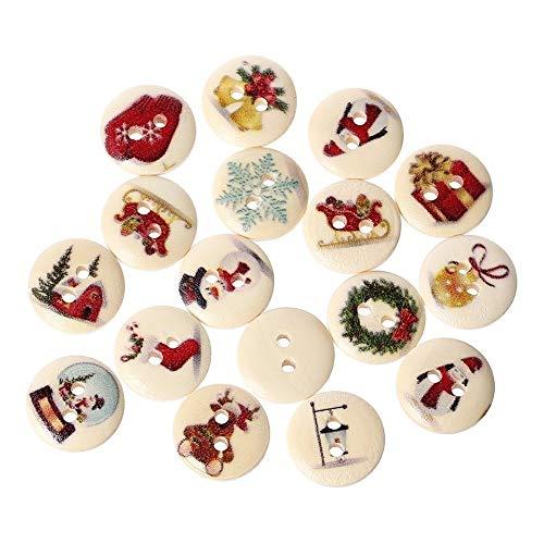 Sungpunet Natale 100pcs 2 Fori Scrapbooking Dipinto Cucire Bottoni in Legno 15 Millimetri per la Decorazione Domestica Forniture di Cucina