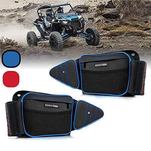 DOVOTECH RZR 1000 XP Accessories Front Door Side Storage Bags Water Repellent for RZR XP Turbo or S 900 – Side by Side UTV Razor Accessories Knee Protection Pads for 20014-2019 (Blue Piping)