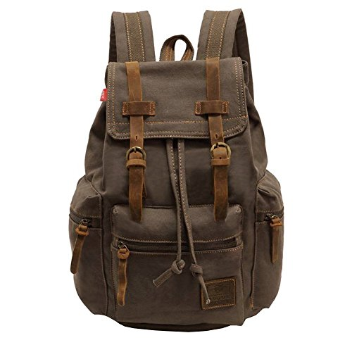 Vintage unisex casual zaino in pelle tela zaino Bookbag Satchel escursionismo zaino da viaggio all' aria aperta Shouder bag(Army Green)