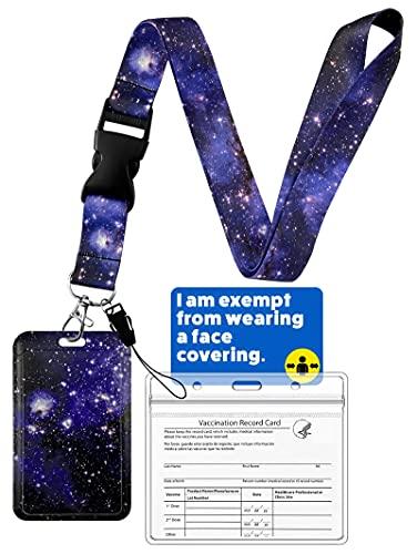 Geiomoo Cordón con Portatarjeta, Cuello Cordón Cuerda con Soporte para Llaves, Tarjetas de Identificación (Galaxia 2)