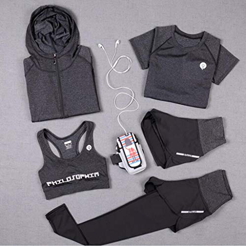 2019 yoga kleding, eenvoudige fitness kleding, vrouwen groot formaat sneldrogende Workout kleding, Vijfdelige buiten, sport hoodie pak,