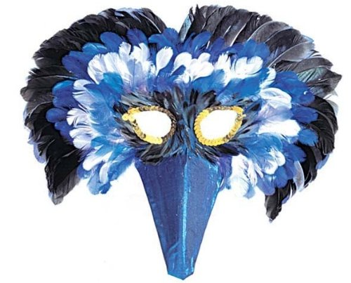 Vogelmaske mit Federn blau