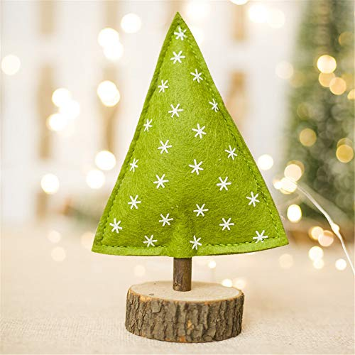Iusun Tabletop Christmas Tree Cloth Doll Standing Desk Toy Birthday Present Decoration Bedroom Desk Window Ornament Bonsai for Home Office Supplies Gift (E)