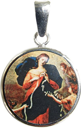 Ferrari & Arrighetti Medalla Virgen Desatanudos de Plata 925 y Porcelana - 1,8 cm