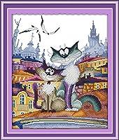 夢の妖精猫クロスステッチキット DIY刺繍セット 刺しゅうキット 11CT スタンプ済み刺繍スターターキット 初心者向け 完璧な装飾品 40×50cm-フレームなし