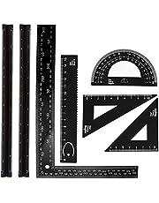 7 Piezas Arquitecto Triangular Regla Regla de escala de metal, juego de regla de escala de arquitecto triangular de aluminio para estudiantes, dibujantes, ingenieros, arquitectos