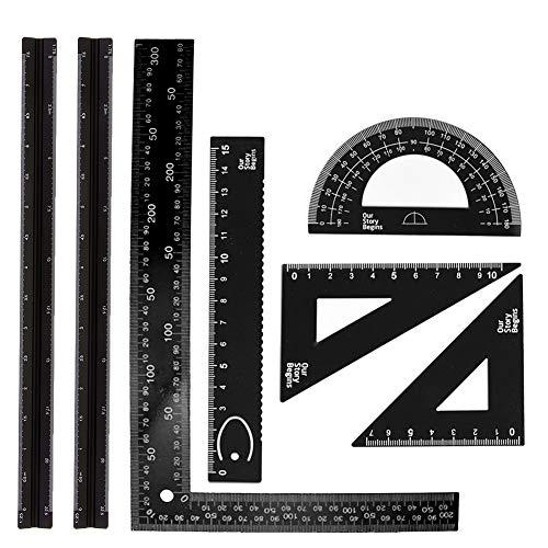 7-teiliges Aluminium-Dreikant-Lineal-Set für Architekten, inklusive 2 Stück 30,5 cm Maßstabslineal, 5 Stück Aluminium-Dreieckslineal, Winkelmesser-Set für Studenten, Zeichner und Ingenieure