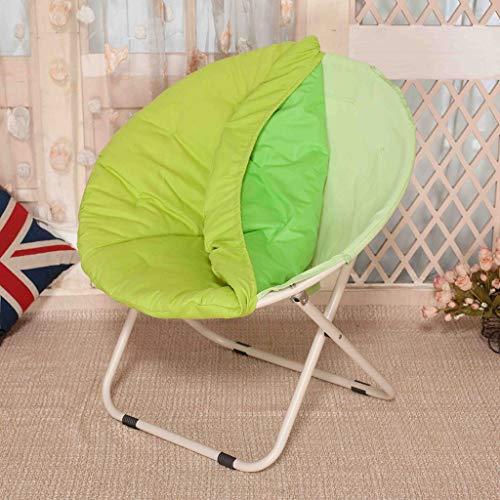 Zcxbhd 4,5 kg Deluxe et Rembourré Moon Chair Grand Pliant Camping Fainéant Dossier Chaise Longue (Coussin siège Amovible) (Couleur : Green)