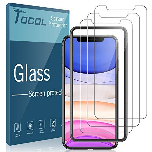 TOCOL [3 Pack per iPhone 11 iPhone XR Pellicola salvaschermo, Vetro temperato  Doppia Installazione Libera con Cornice di allineamento Facile Installazione