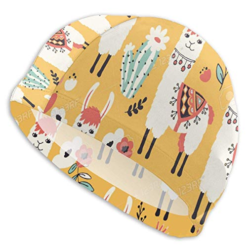 CVDGSAD Badekappe für Männer Frauen White Llama Seamless Pattern Badehut für Erwachsene Swimmingpool Big Head Hair Guys Mädchen Badekappe