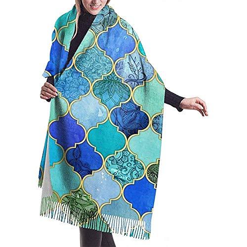 Cathycathy kobaltblauw, aqua & goud decoratieve Marokkaanse mannen en vrouwen winter lange kasjmier sjaal