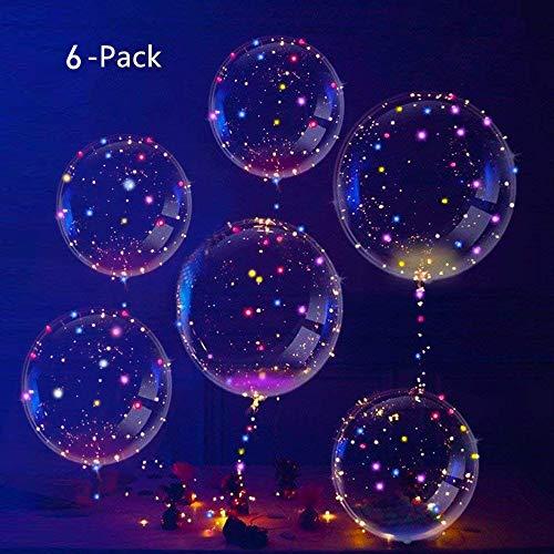Ivylife Kit De 6pcs Ballons Led Transparent Lumineuse Ballons Bobo En Latex Lampe Multicolore Decoration Pour Noel Mariage Fete Soiree