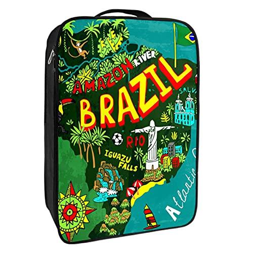 Portascarpe da viaggio e uso quotidiano Cartone animato Brasile Mappa Scarpa Organizzatore Portatile Impermeabile fino a 12 metri con Doppia Cerniera 4 Tasche