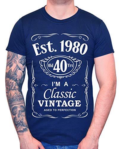 DF 40th Birthday Est. 1980 Vintage Year Homme T-Shirt Bleu foncé XL