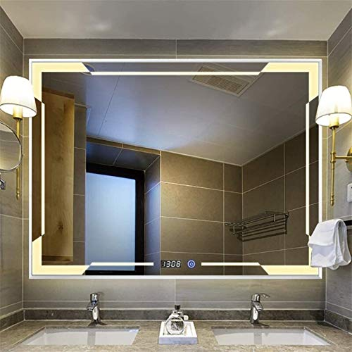 600x800mm Baño Iluminado LED LED Marco de Aluminio Montado en Pared Horizontal/Colgante Vertical con Interruptor táctil de luz Blanca/Caliente + Tiempo/Aflogamiento Espejo Decorativo