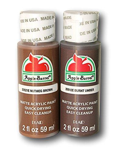 Apple Barrel Brown Acrylic Paint Set Bundle - Nutmeg Brown & Burnt Umber (2 Ounces Each)