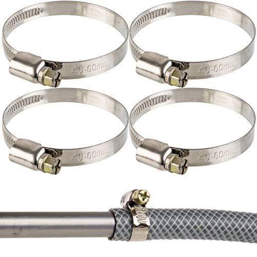 Abrazaderas de manguera profesionales con accionamiento por caracol, rango de sujeción 40-60 mm, 4 unidades, de acero W2, con ranura en cruz, 9 mm de ancho de banda, conexión de sifón