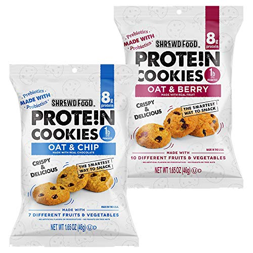 Shrewd Food Mini High Protein Cookies | Variety 6 Pack | Oat & Chip, Oat & Berry | 8g Protein, Made with Prebiotics & Probiotics | Supports Digestive Health, Healthy Snacks, Dessert Sweets, Diet Foods