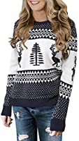 LookbookStore Women Ugly Christmas Tree Reindeer Holiday Knit Sweater Pullover