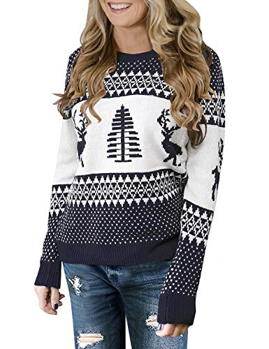 LookbookStore Women's Navy Long Sleeves Ugly Christmas Tree Reindeer Winter Holiday Knit Sweater Pullover Size XL 16 18
