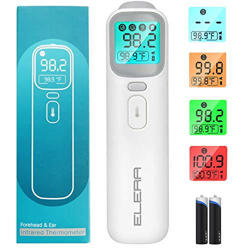 Termômetro infravermelho para testa para adultos, Termômetro sem toque Elera para adultos e crianças, 4 modos de leitura instantânea termômetro de testa, termômetro para bebê com modo de mudo, 4 luzes de fundo e alarme de febre