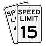 (2 Pack) Speed Limit 15 MPH Sign, 18 x 12 Inches Engineer Grade Reflective Sheeting, Rust Free Aluminum, Weather Resistant, Waterproof, Durable Ink, Easy to Mount