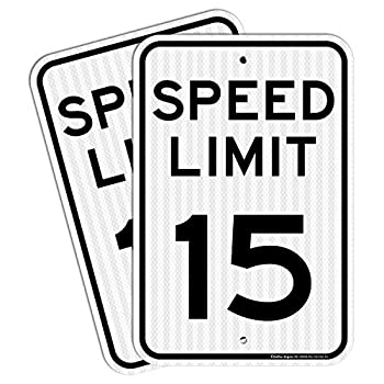 2 Pack  Speed Limit 15 MPH Sign 18 x 12 Inches Engineer Grade Reflective Sheeting Rust Free Aluminum Weather Resistant Waterproof Durable Ink Easy to Mount