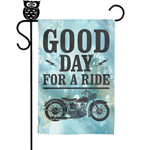 BoDu Good Day for A Ride Motorcycle Garden Flag Yard Home Flag 18 x 12.5 Inch