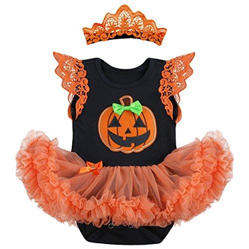 OBEEII Baby Mädchen 1. Halloween Kostüm Kürbis Schädel Strampler Rüschen Tutu Rock mit Stirnband Beinwärmer Schuhe Weihnachten Cosplay Partei Kleid für Neugeborene Kleinkind 6-12 Monate