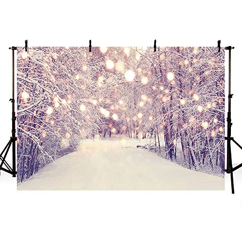 MEHOFOTO Winter Snowing Purple Landscape Backdrop Snow Scene Road Forest Pine Tree Bokeh Christmas Photography Background Decoration Photo Studio Props 7x5ft