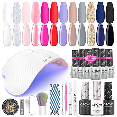 Gel Nail Polish Kit with UV Light, opove Gel Nail Polish Set Soak Off with LED Nail Lamp Glitter Starter System for Nail Art -12 Colors