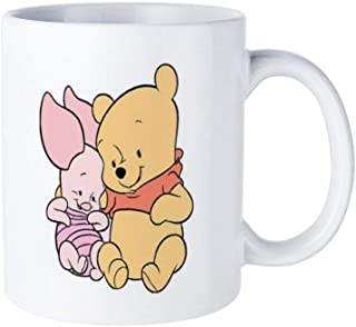 Winnie The Pooh And Piglet Coffee Mug Tea Cup White,Cute Birthday Ideas for Wife on Valentine's Day and Christmas Double-sided printing funny pattern