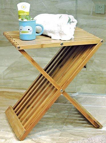 Spetebo Design Bambus Klapphocker - Holz Hocker Klappstuhl Stuhl Beistelltisch klappbar